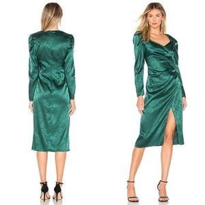 L'Academie The Cindy Midi Dress in Green Size S